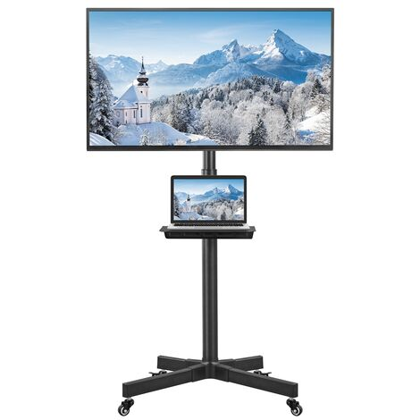 TV Bodenständer TV Ständer TV Standfuß Fernsehstand höhenverstellbar schwenkbar für 23 – 55 Zoll Flach & Curved Fernseher bis zu 25kg Max.VESA 400 * 400, Schwarz