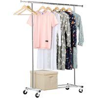 Kleiderständer Metall Garderobenständer auf Rollen Kleiderstange längenverstellbar Wäscheständer belastbar bis 90 kg