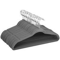 100 Stück Kleiderbügel samt Anzugbügel mit Rutschfeste Oberfläche Garderobenbügel Anti-Rutsch platzsparend 360° drehbarer Haken 0,5 cm dick Bügel (Grau)