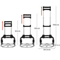 Sackkarre Klappbare Handkarre Transportkarre mit Ausziehbarem Griff aus Alu Stapelkarre Belastbar bis 80 kg