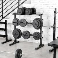Hantelablage Hantelständer Scheibenständer max. Belastbarkeit 300 kg für Langhanteln und Gewichtsscheiben rutschfest