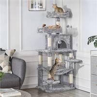 Stabiler Kratzbaum mit Sisal-Kratzstangen Hängematte, Höhle, Spielsisal 147 cm Kletterbaum für Katzen