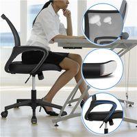 2x Bürostuhl ergonomischer Drehstuhl mit Netzrücken Bürodrehstuhl Office Chair Höhenverstellung und Wippfunktion Schwarz