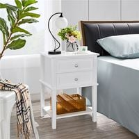 2er Set Nachttisch Nachtkommode Holz Beistelltisch mit Schubladen und Ablage Nachtschrank für Schlafzimmer und Wohnzimmer, Weiß