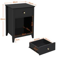 2er Set Nachtschrank Nachttisch mit Schublade und Offenem Fach Holz Nachtkommode Beistelltisch Sofatisch, Weiß
