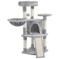 Kratzbaum Katzenbaum 106 cm Hoch Kletterbaum mit Sisalsäulen Höhle Korb und Spielball Stabil Kratzmöbel Spielhaus für kleine Katzen