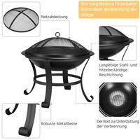 Garten Feuerstelle mit Funkenschutz & Schürhaken Outdoor Vierbeine Feuerschale Feuerkorb auf Ihrer Terrase, schwarz - 54 x 49.5cm (Dx H)