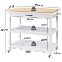 Küchenwagen Servierwagen mit 2 Ebenen und Schubladen Rollwagen Küchenregal Sideboard
