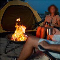 Feuerschale Ø54cm Feuerstelle Garten Terrasse Feuerkorb mit Funkenschutzgitter und Schürhaken, Fire Pit klappbar für Party/Camping/Heizung