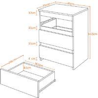 Nachttisch für Boxspringbetten Nachtschrank Nachtkommode mit 3 Schubladen, Schwarz