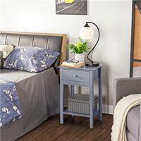 Nachttische 2 Stück Nachtschrank Beistelltisch Ablagetisch Nachtkonsole mit Schublade und Ablage, grau, 61 cm hoch