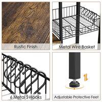 Küchenbäckerregal Küchengerät Mikrowellenherd Gewürze Lagerregal Freistehender industrieller 5-stufiger Organizer mit Eisenrohrrahmen