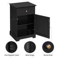 Nachttisch Nachtkommode Nachttische mit Schublade und Schrank Nachtschrank Verstellbarer Einlegeboden, Schwarz