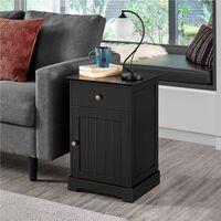 2er Set Nachttisch Nachtkommode Nachttische mit Schublade und Schrank Nachtschrank Verstellbarer Einlegeboden, Schwarz