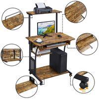 Computertisch mit Regal Schreibtisch Büro PC Tisch mit Rollen Eckschreibtisch Vintage 80 x 50 x 132 cm