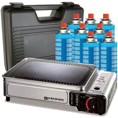 Plancha gaz portable 2300W Kemper plaque anti adhésive + 8 cartouches gaz camping + Valise de transport