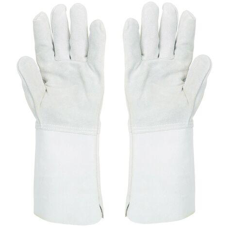Gants anti chaleur taille 10 Manchette confort 15cm-Cuir extra souple-gant soudeur protection chaleur courte durée accidentelle