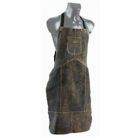 Tablier cuir croute KROZ 120 tous travaux de bricolage couleur brun originale avec double coutures et poche renforcée