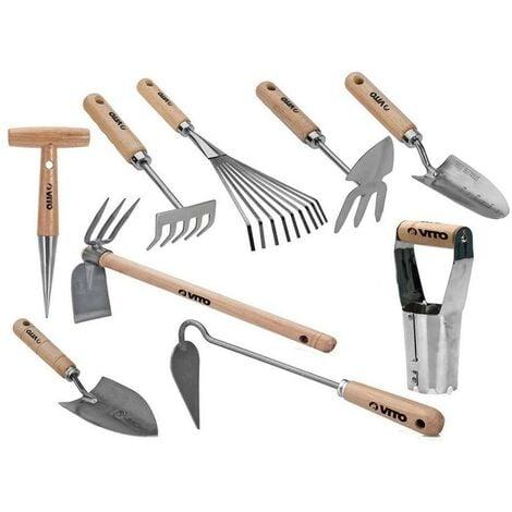 Kit 9 outils de jardin Manche bois VITOGARDEN Inox et Fer forgés à la main haute qualité Outils de jardin