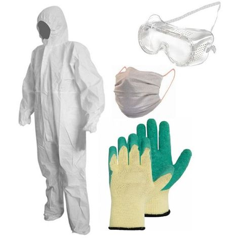Kit de protection pulverisation BRIXO jardin et bricolage combi taille L + gants + lunettes + masque UNS2
