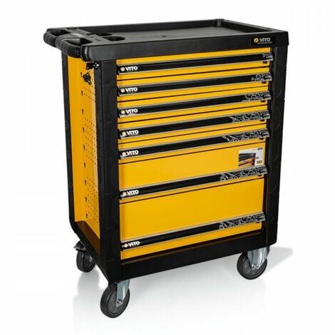 Servante d'atelier Professionnelle VITO 7 tiroirs Haute qualité Roues Diam 125cm Avec frein Meuble de garage Etabli