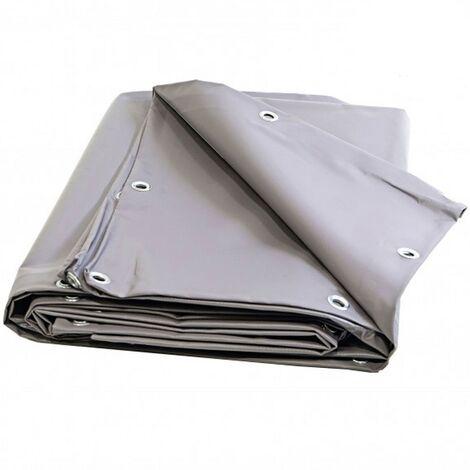 Bache Plastique PVC 6 X 10 m GRISE Lourde avec Oeillets /25cm Qualité professionnelle