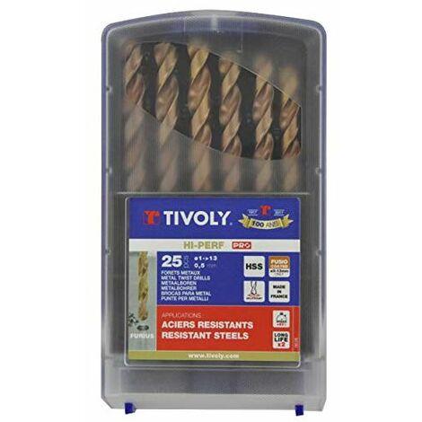 Forets métaux TIVOLY 1 à 13 mm DIN 338 FURIUS HSS revêtus FUSIO Coffret de 25 pièces