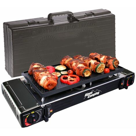 Plancha grill Gaz / réchaud 2 feux Piezo 5000W ALPENTECH 2en1 Portable Valise de transport