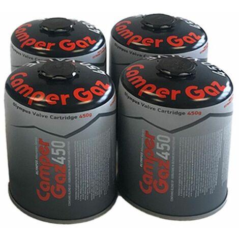 Pack de 4 Cartouches gaz Butane / Propane MIX 450gr CAMPER GAZ Bouteille de gaz camping Réchauds Barbecues Appareils à gaz