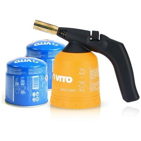 Lampe à souder VITO Allumage piezo Coque ABS Verrou de sécurité Poignée ergonomique + 2 cartouches 190gr butane
