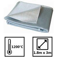 Couverture anti feu protection 1200° - 2 x 3m - Fibre de silice matière textile ignifugée