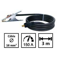 Câble de soudure 16mm2 HO1N2D 3 M + pince 200A + Connecteur