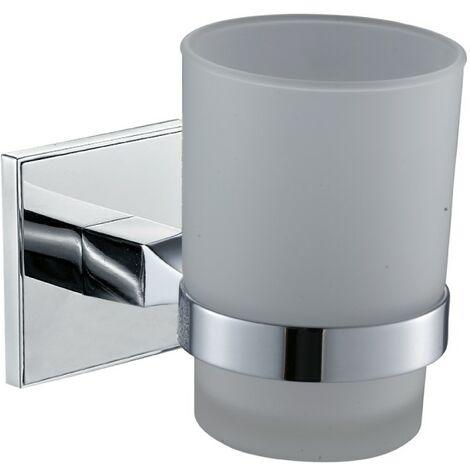 Saturn Chrome Glass Toothbrush Tumbler & Holder