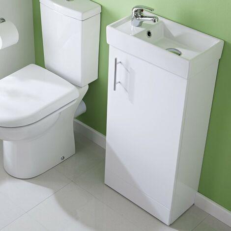 Minimalist 400mm White Gloss Floor Standing Cabinet & Basin - 1 Tap Hole