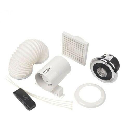 Manrose 100mm In-Line LED Shower Light Fan Kit - Cool White (240Lm)
