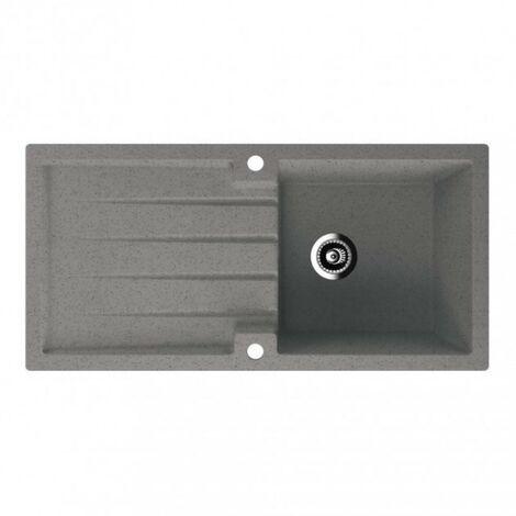 Lavello Cobblestone Grey Quartz Single Bowl Kitchen Sink - Single Drainer