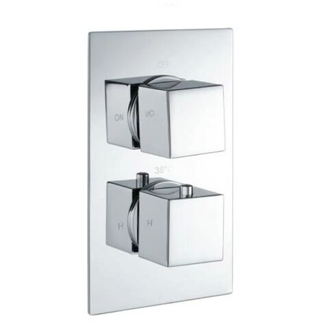Cube Square Chrome Twin Thermostatic Concealed Shower Valve (TMV2)