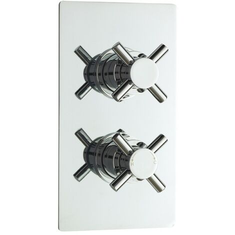 Acel Crosshead Chrome Twin Thermostatic Concealed Shower Valve (TMV2)