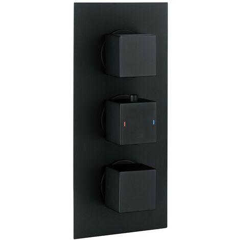 Cube Square Matt Black Triple Thermostatic Concealed Shower Valve (TMV2)