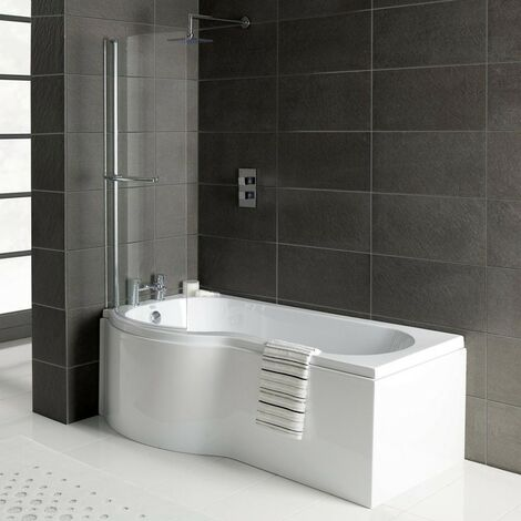 Solar P-Shape 1700mm Shower Bath, Front Panel & Solar Deluxe Screen - Left Hand
