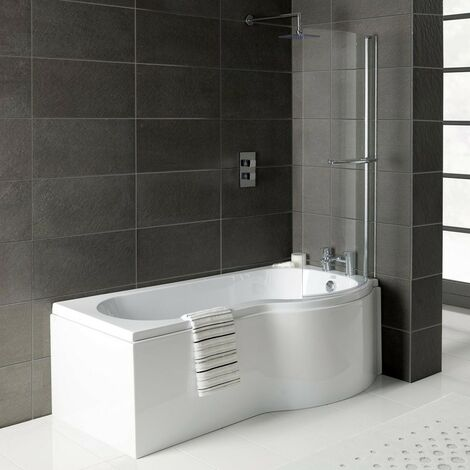 Solar P-Shape 1700mm Shower Bath, Front Panel & Solar Deluxe Screen - Right Hand