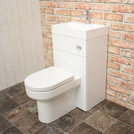 Athena 500mm Gloss White WC & Basin Combi (Inc. Harmony Pan, Basin, Cistern)