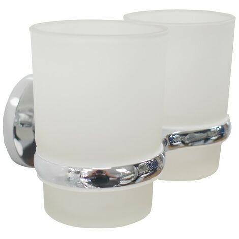Orion Chrome Double Glass Toothbrush Tumbler & Holder