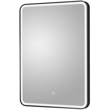 Hydrus Black Frame LED Illuminated Bathroom Mirror 500mm x 700mm