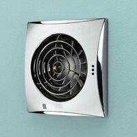 Hush Chrome Wall Mounted Bathroom Fan with Timer & Humidity Sensor
