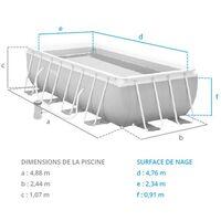 Piscine tubulaire Prism Frame - Rectangulaire - 4,88 m x 2,44 m x 1,07 m de Intex