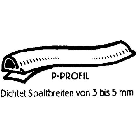 TOP MULTI 22316w1836-0005 Fenster-und T/ürdichtung E-Profil 9x4mm schwarz 20m