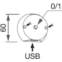 Bettpaneelleuchte Legis 12 V/DC alufarbig mit USB-Charger
