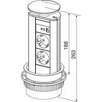 Steckdosenleiste EVOline Port 2x Schukosteckdosen 1x USB-Charger Alufarbig