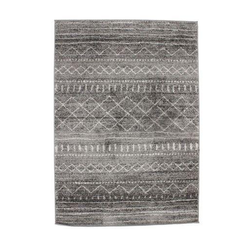 VENISE - <p>Tapis toucher laineux motifs ethniques gris beige 133x190</p> - Beige